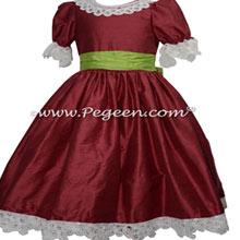Burgundy and Green Silk and Battenburg Lace Nutcracker Dress