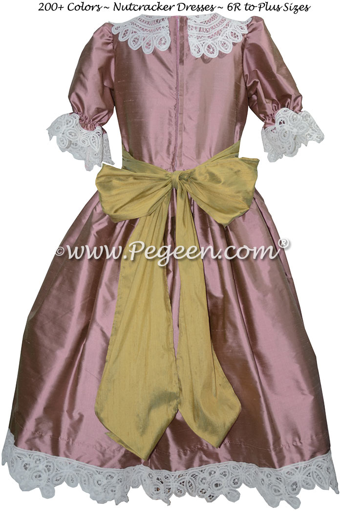 Canyon Pink and Sprite Green Silk Nutcracker Party Scene Dress Style 708 by Pegeen