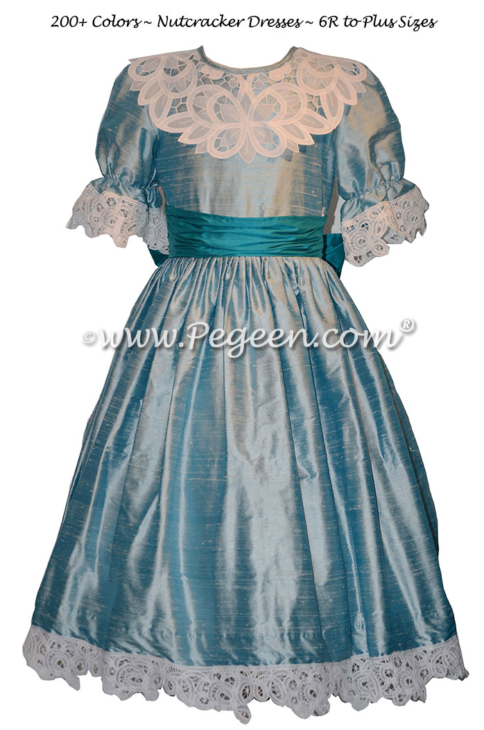Nutcracker Party Scene Dress in Caribbean and Teal Style 708