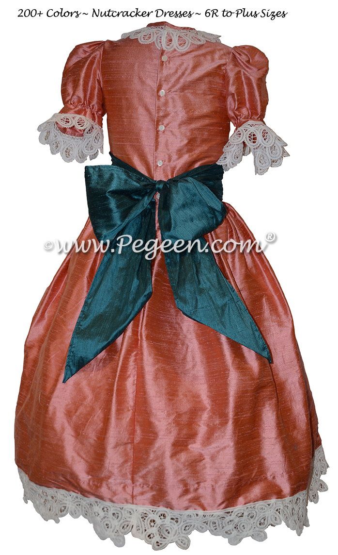 Coral Rose and Juniper Teal Nutcracker Party Scene Dresses Style 708 by Pegeen