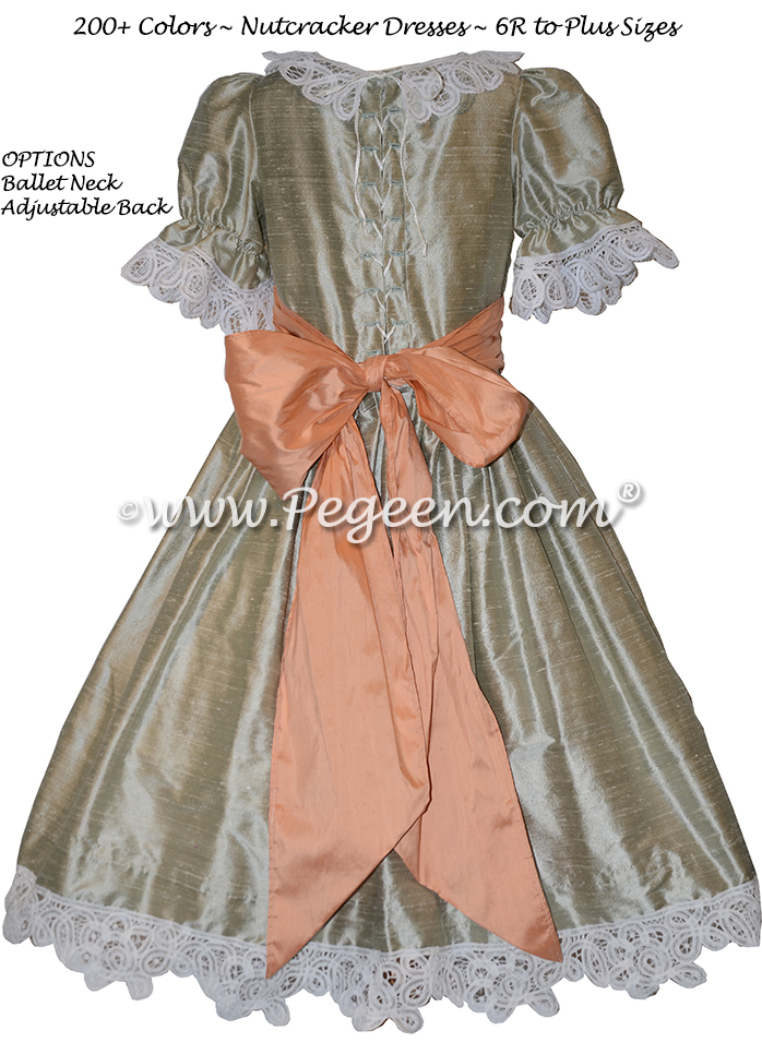 Battenburg Lace and Green and Peach Silk Nutcracker Party Scene Dresses Style 708 by Pegeen