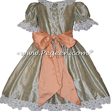 Battenburg Lace and Green and Peach Silk Nutcracker Party Scene Dresses