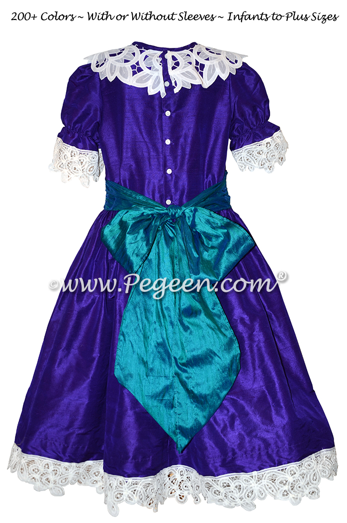 Peacock Blue and Royal Purple Clara Nutcracker Party Scene Dress Style 708 by Pegeen