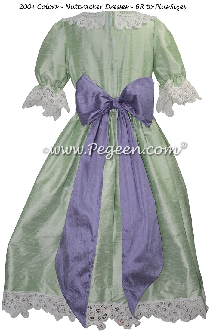 Spring Green and Periwinkle  Silk Nutcracker Party Scene Dress | Pegeen