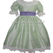 Spring Green and Periwinkle silk dress for the Nutcracker Party Scene
