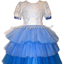 Blue Ombre Lace Tulle and Silk flower girl dresses