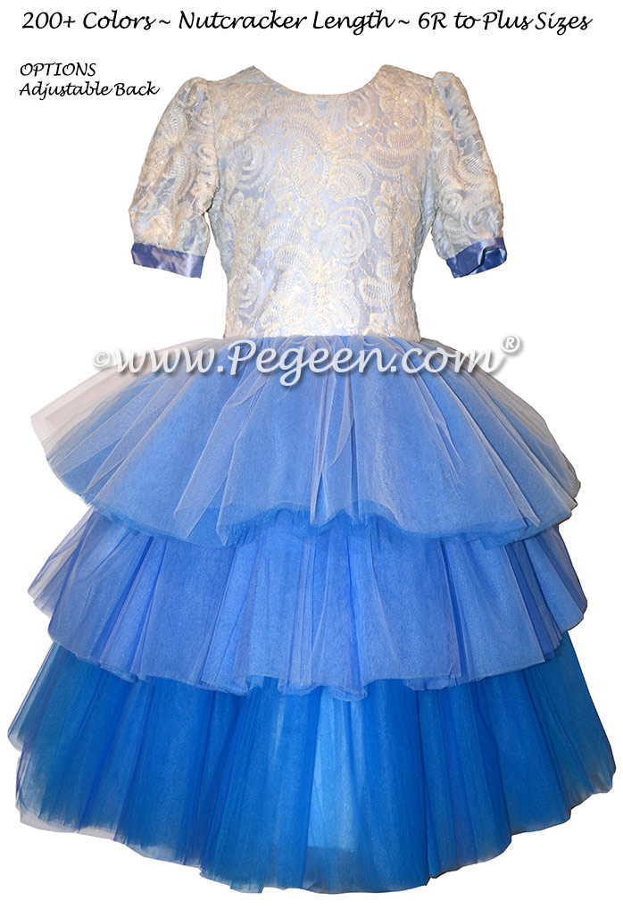 Blue Ombre Lace Tulle and Silk flower girl dresses Style 720