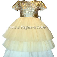 Gold sequins holiday ombre flower girl dress