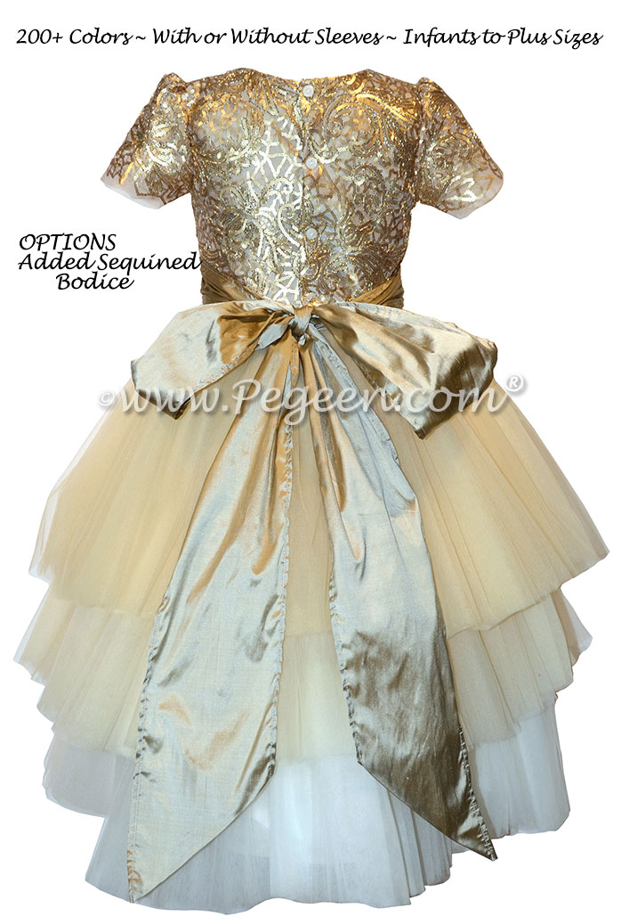 Gold sequins holiday ombre flower girl dress by Pegeen