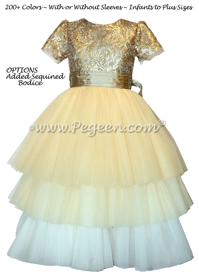 Gold sequins and tulle flower girl dress on sale 6X