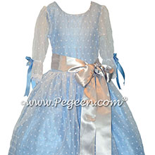 Blue cotton eyelet nutcracker dress for Louise