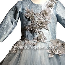Embroidered Blue Ice, Platinum and Blue Silk and Tulle flower girl dresses