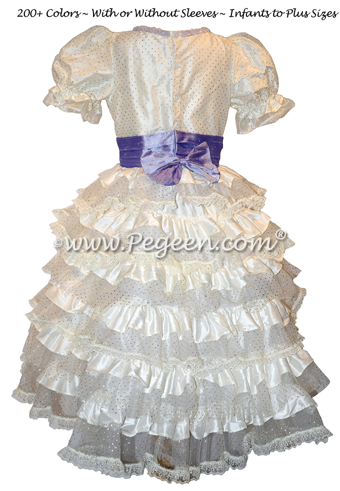 Nutcracker Style Period Dress for Clara in Silk with layers of lace in ivory and lilac by Pegeen