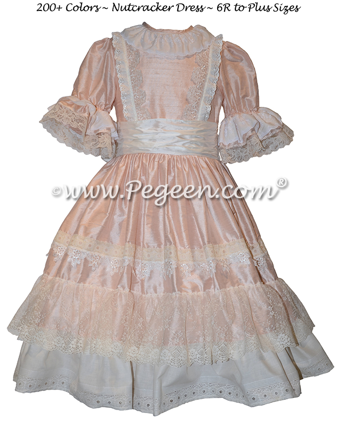 Creme and Pink Nutcracker Ballet Party Scene Dresses - Style 723