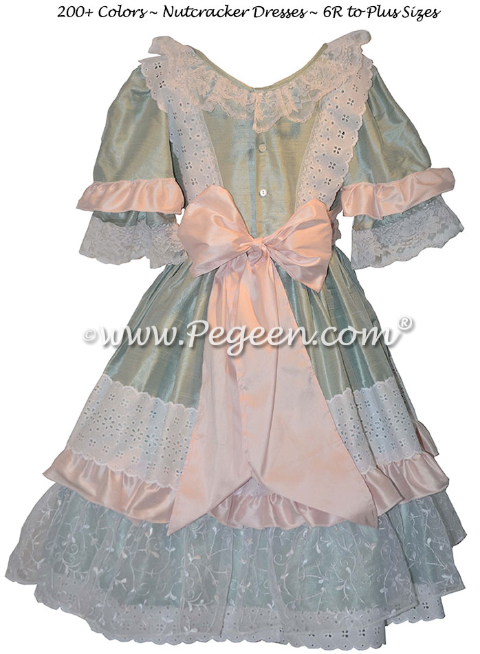 Nutcracker Party Scene Dress in Green and Pink Style 723