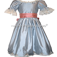 Powder Blue Silk Nutcracker Dress for Clara and the Party Scene Style 724 | Pegeen