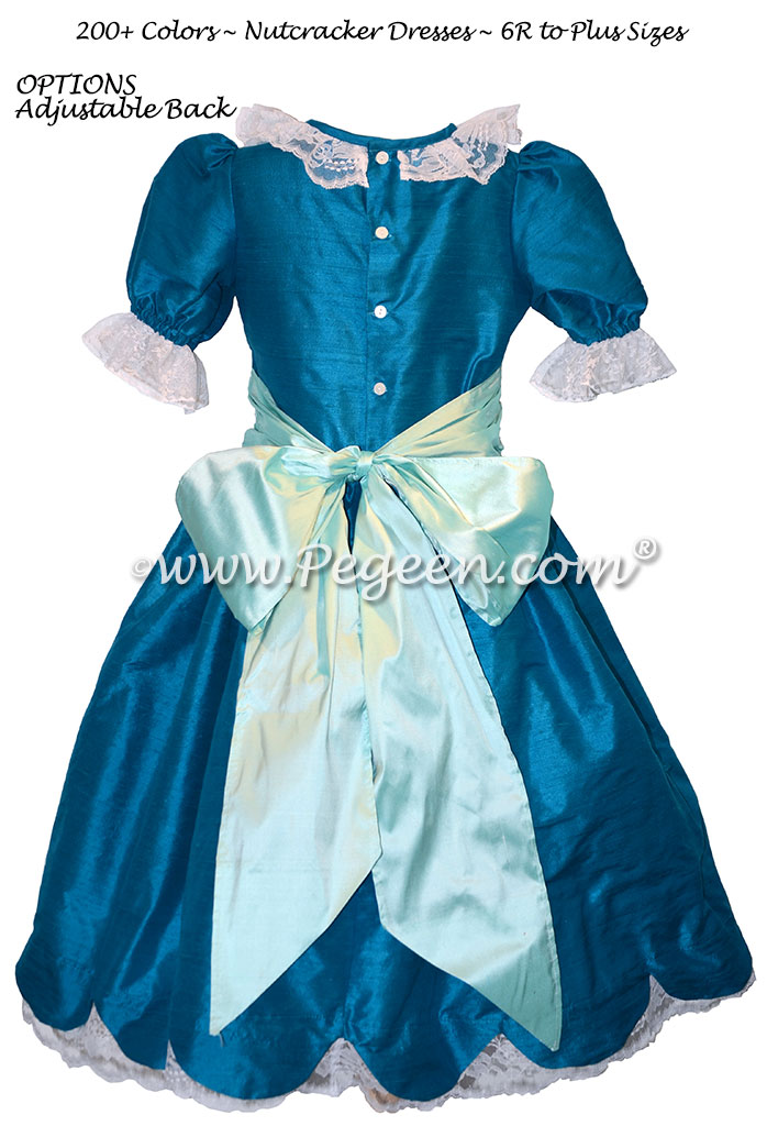 Capris and Pond Blue Silk Nutcracker Dress for Clara and the Party Scene Style 724