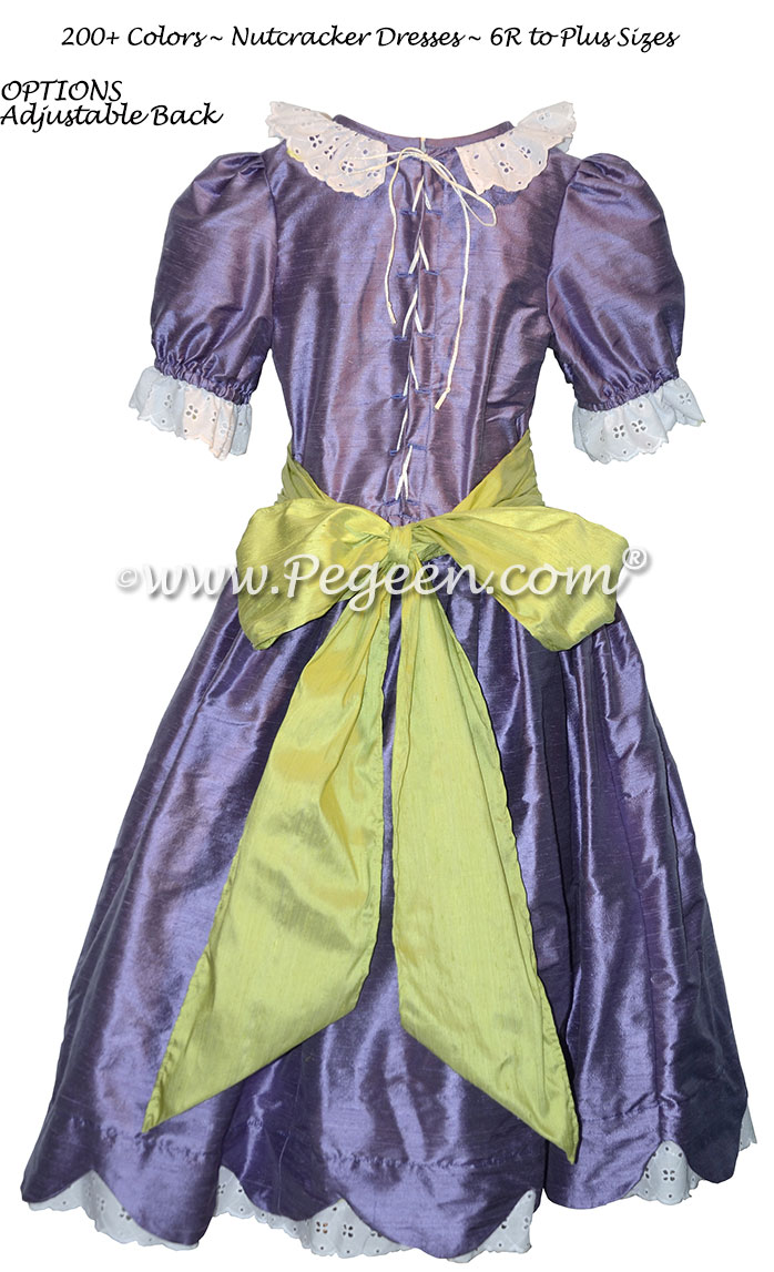 Periwinkle and Apple Green Silk Nutcracker Dress for Clara and the Party Sene Style 724