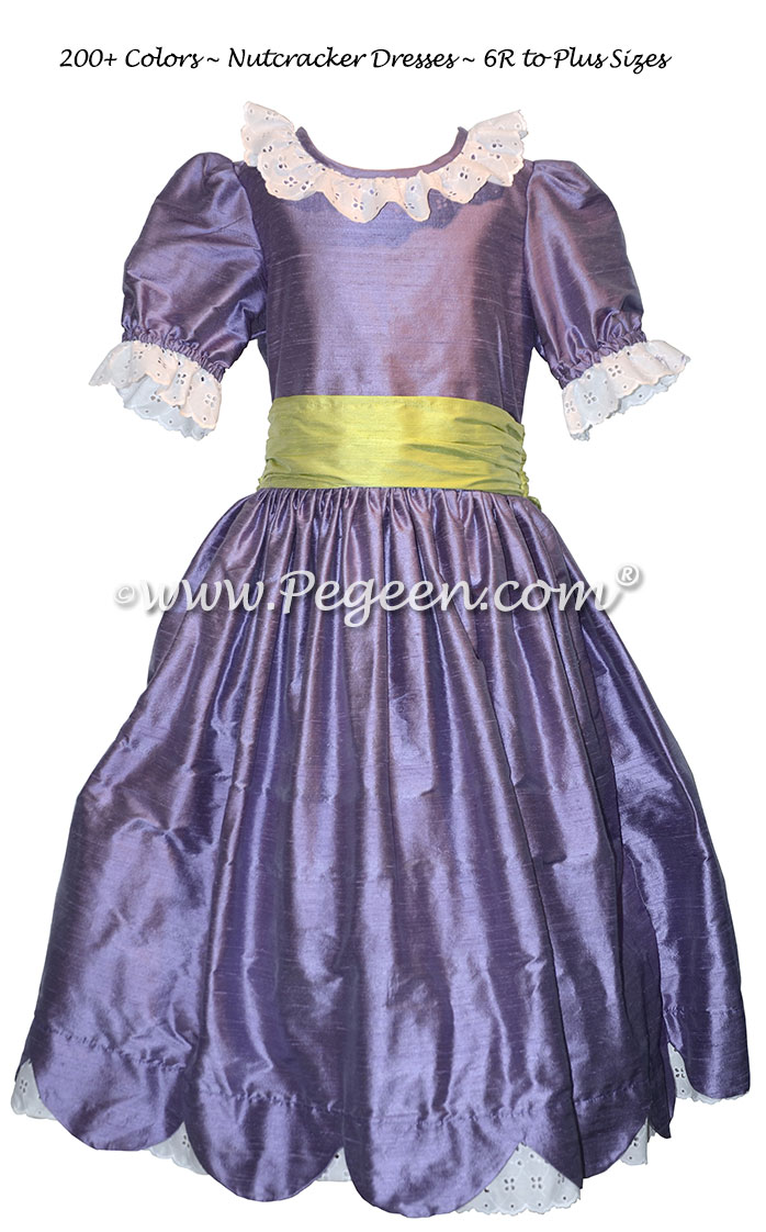Periwinkle and Apple Green Silk Nutcracker Dress for Clara and the Party Scene Style 724