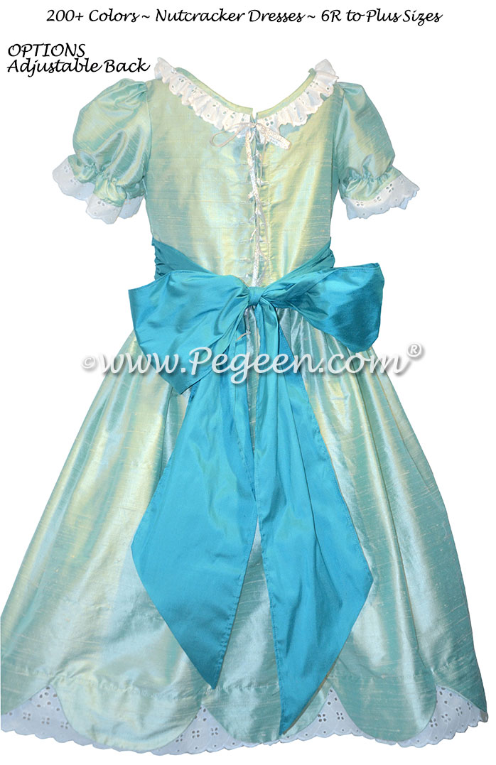 Seaside and Turquoise Blue Silk Nutcracker Dress for Clara and the Party Sene Style 724