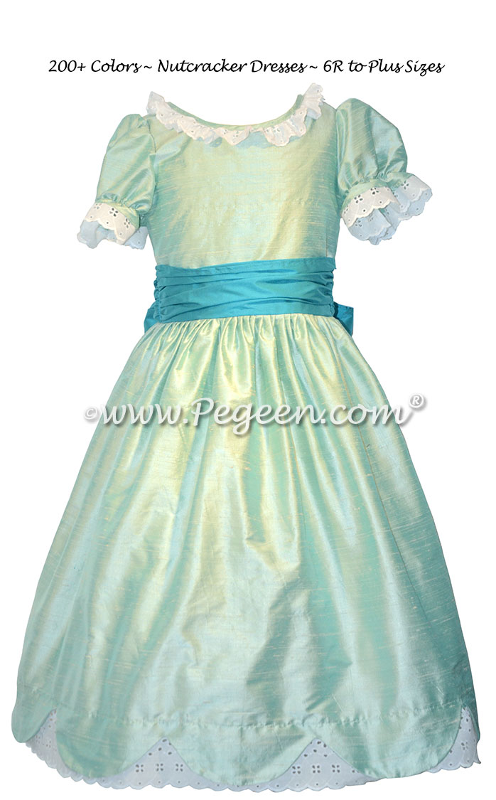 Seaside and Turquoise Blue Silk Nutcracker Dress for Clara and the Party Scene Style 724