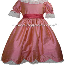Watermelon and Coral Rose Silk Nutcracker Dress