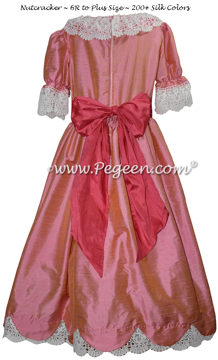 Watermelon and Coral Rose Silk Nutcracker Dress Style 724