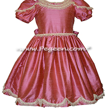 Ivory Lace and Watermelon Pink Silk Nutcracker Party Scene Dresses