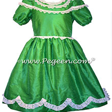 Emerald Green Silk Nutcracker Party Scene Dresses | Pegeen