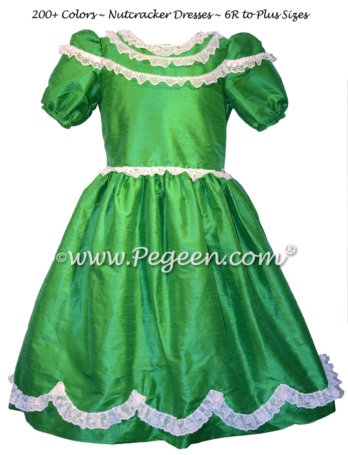 Emerald Green Silk Nutcracker Party Scene Dresses