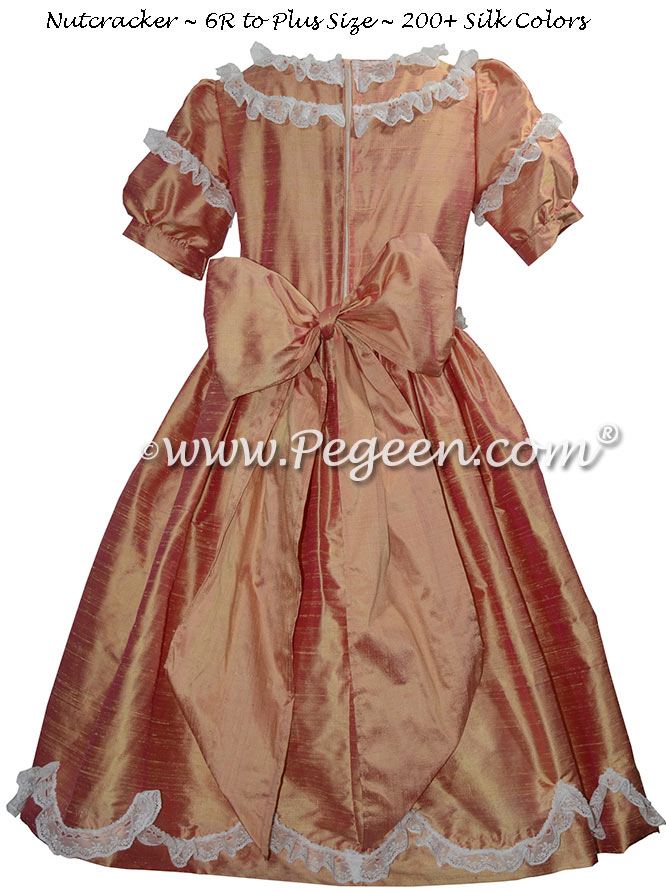 Grapefruit Silk and Lace Silk Nutcracker Party Scene Dress