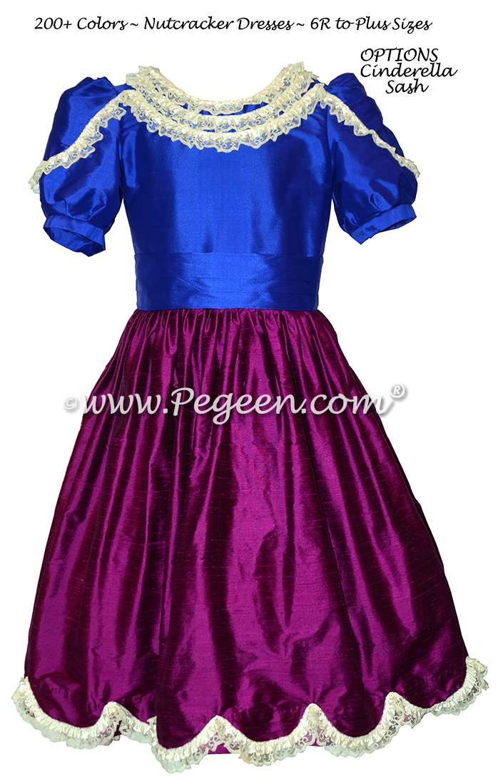 Indigo Blue and Boysenberry (purple) Nutcracker Ballet Party Scene Dresses - Style 725