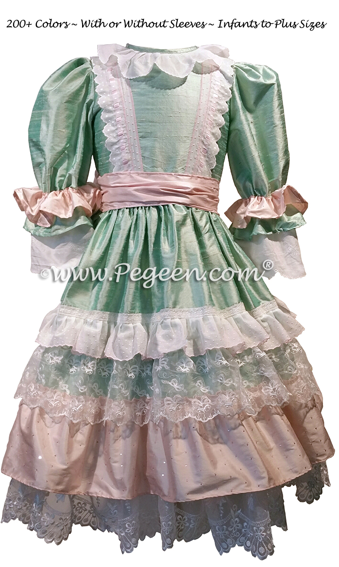 Nutcracker - Holiday Dress Style 723 CLARA MULTI RUFFLE DRESS in Spring Green and Pink | Pegeen