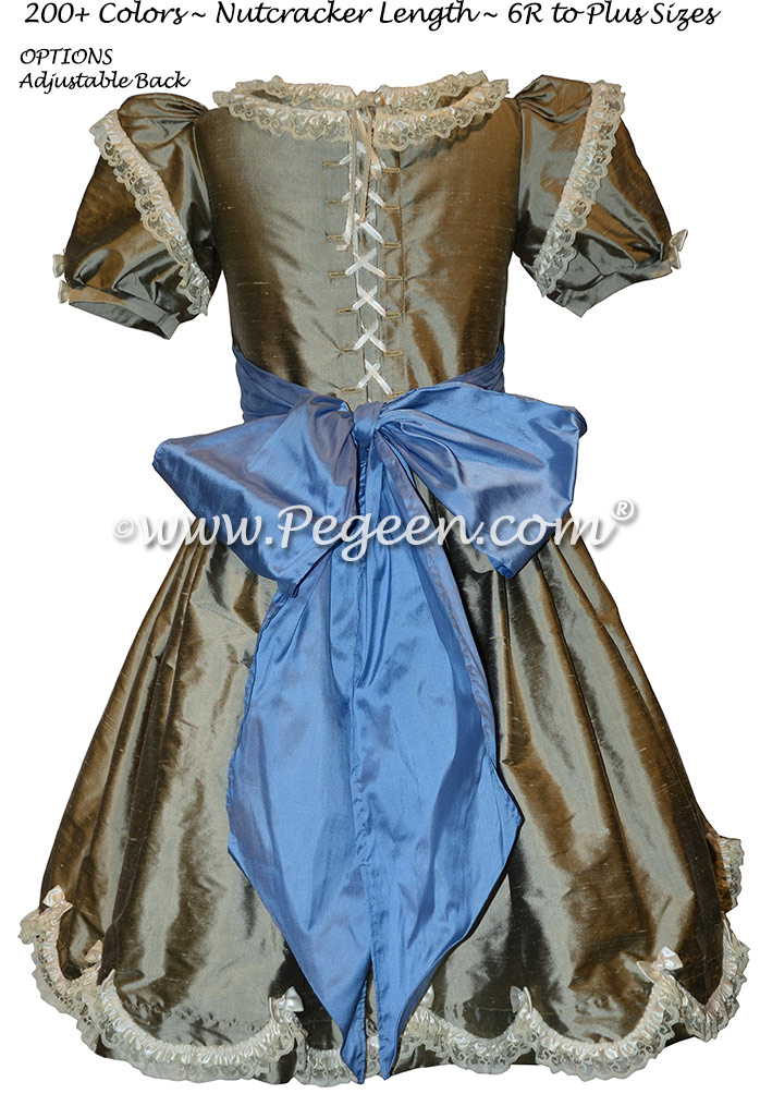 Wolf Gray and Blue Silk Nutcracker Dress for Clara and the Party Scene