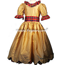 Nutcracker Party Scene Dress in Gold and Plaid