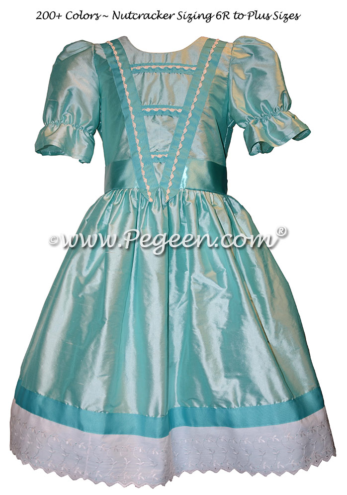 Aqua blue silk ribbon and lace trimmed Nutcracker Party Scene Dress