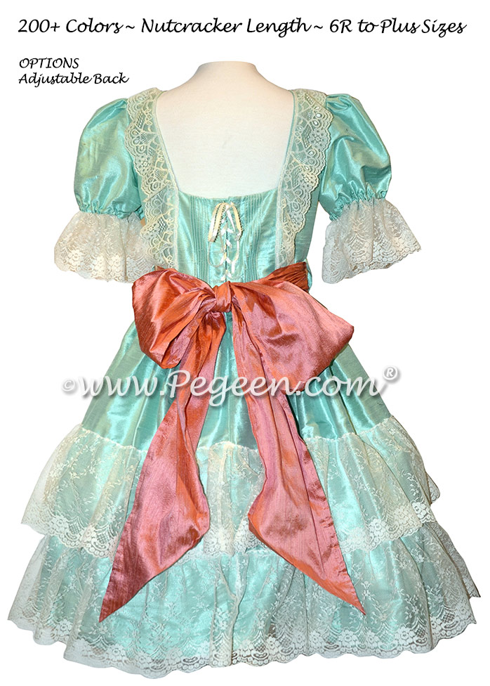 Sea Green and Coral Rose Silk Nutcracker Dress Style 730