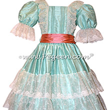 Aqualine and Coral Rose Silk Nutcracker Dress