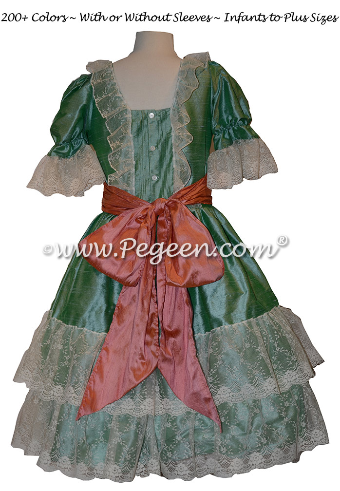 Sea Green and Coral Rose Silk Nutcracker Dress Style 730 | Pegeen