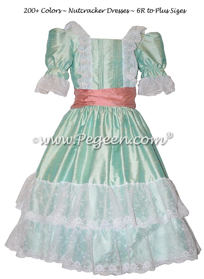 Sea Side Mint Silk Nutcracker Costumes and Party Scene Dresses