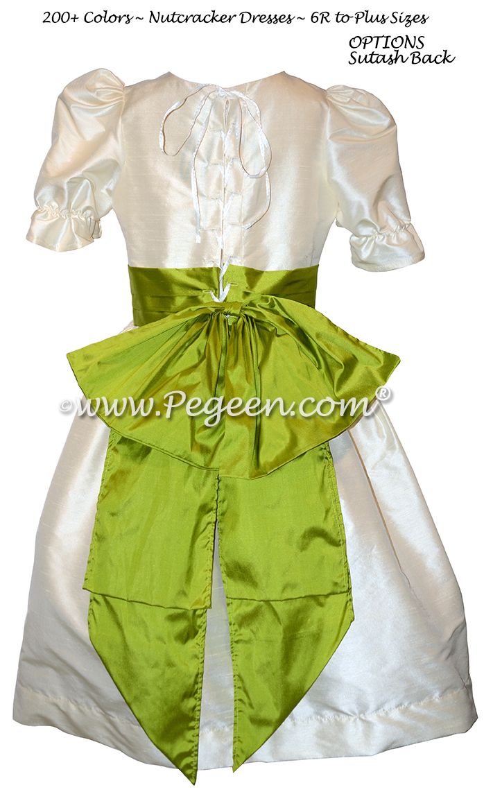 Bisque and Grass Green Nutcracker Party Scene Dress Style 701 by Pegeen