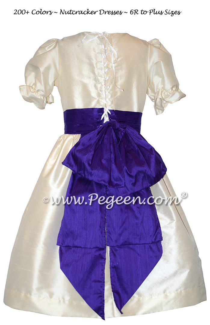 Bisque and Royal Purple Nutcracker Party Scene Dress Style 745 by Pegeen