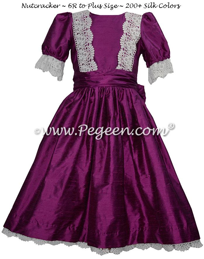 Berry Silk and Lace Nutcracker Dress for Nutcracker Party Scene