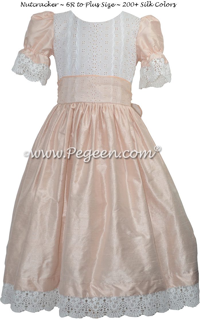 Blush Pink  Silk and Lace Nutcracker Dress for Nutcracker Party Scene