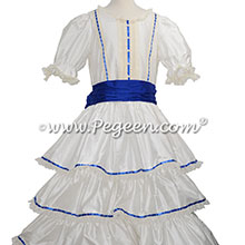 Blue Ribbon Trimmed Victorian Styled - Silk Clara Costume Style 756