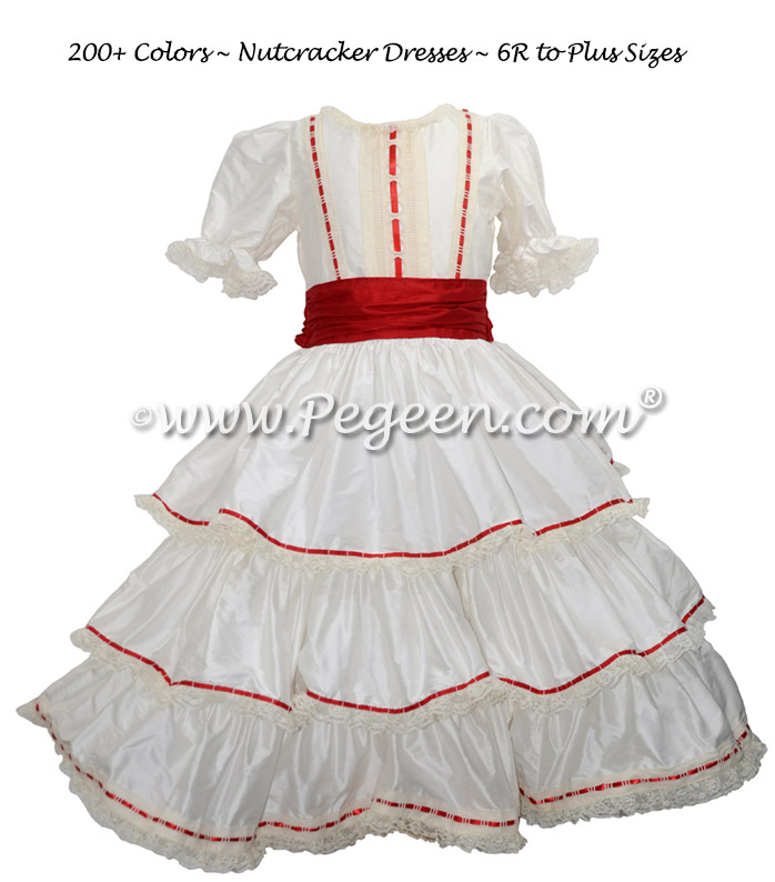 Red Ribbon Trimmed Victorian Styled - Silk Clara Costume Style 756