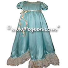 Clara Nutcracker Nightgown Dress in Turquoise Charmeuse Silk | Pegeen