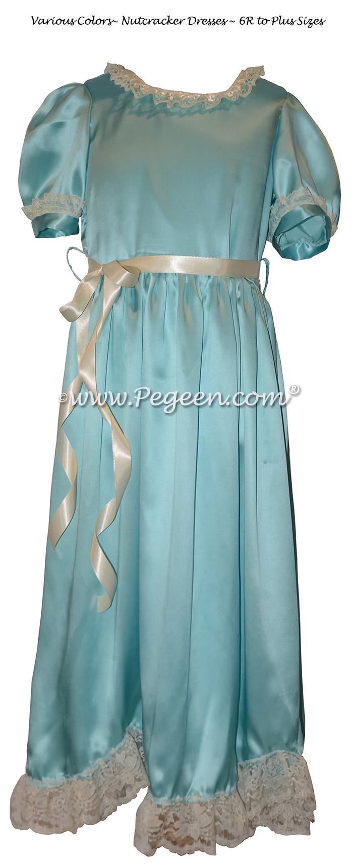 Clara Nutcracker Nightgown Dress in Turquoise Charmeuse Silk
