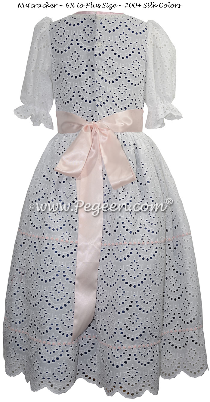 Nutcracker Costume for Clara Style 776 in cotton eyelet and blue silk
