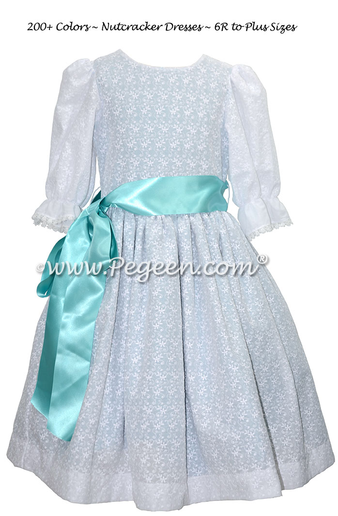 Nutcracker Costume for Clara Style 776 in cotton eyelet and tiffany silk